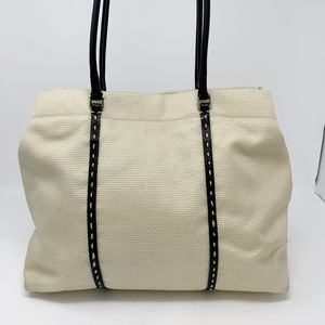 Antonio Melani Natural Canvas Shopper Black Trim